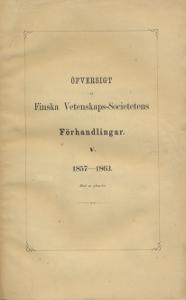 Öfversigt  at Finska Vetenskaps-Societetens,