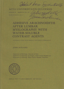 Adhesive arachnoiditis after lumbar myelography with water-soluble contrast agents (signeeraus),Suolanen Jorma