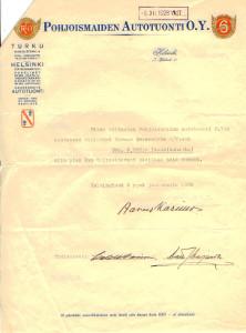 Aarne Karimon signeerauksella varustettu asiakirja vuodelta 1928,