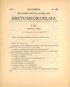 Suomen Suuriruhtinaanmaan Asetuskokoelma 1917 N:o 103,