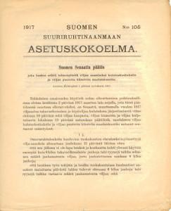 Suomen Suuriruhtinaanmaan Asetuskokoelma 1917 N:o 105,