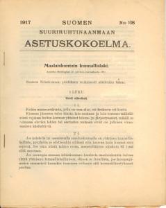 Suomen Suuriruhtinaanmaan Asetuskokoelma 1917 N:o 108,