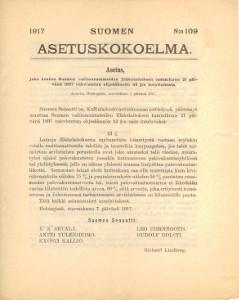 Suomen Suuriruhtinaanmaan Asetuskokoelma 1917 N:o 109,