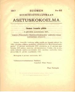 Suomen Suuriruhtinaanmaan Asetuskokoelma 1917 N:0 85,