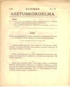 Suomen Asetuskokoelma 1919 N:o 14,