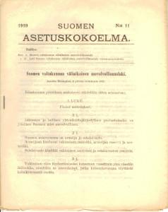Suomen Asetuskokoelma 1919 N:o 11,