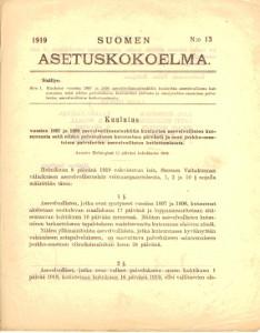 Suomen Asetuskokoelma 1919 N:o 13,