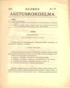 Suomen Asetuskokoelma 1919 N:o 22,