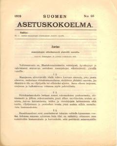 Suomen Asetuskokoelma 1919 N:o 68,