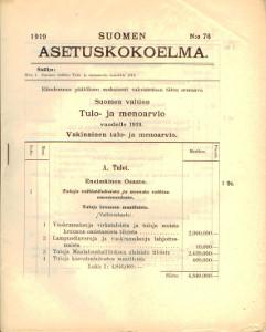 Suomen Asetuskokoelma 1919 N:o 76,