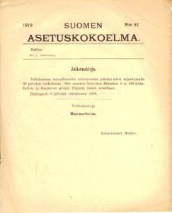 Suomen Asetuskokoelma 1919 N:o 91,