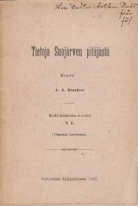 Tietoja Suojärven pitäjästä,Branders A.A.
