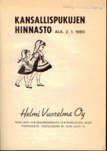 Kansallispukujen hinnasto alk. 2.1.1980,Helmi Vuorelma Oy